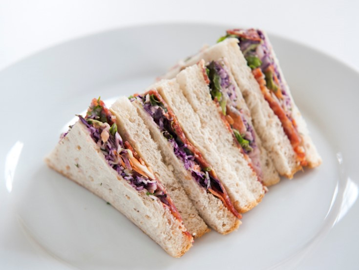 Salami & coleslaw on granary bread